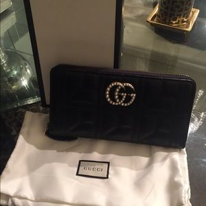 NEW GUCCI PEARL GG MARMONT WALLET